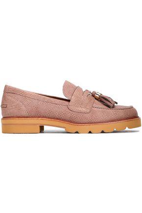 STUART WEITZMAN Tasseled textured-leather loafers