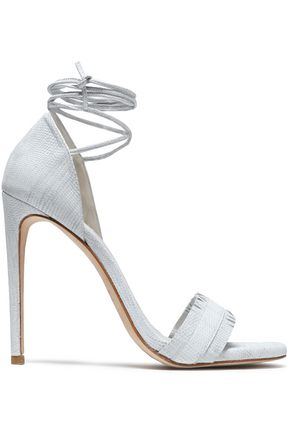 STUART WEITZMAN Nudewrap fringe-trimmed lizard-effect leather sandals