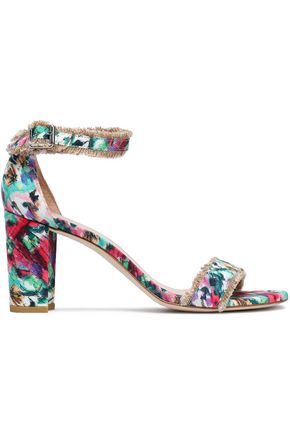 STUART WEITZMAN Frayed printed snake-effect leather sandals