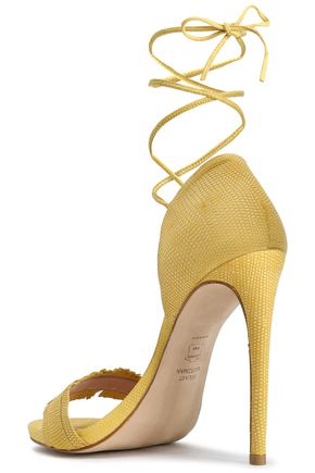 STUART WEITZMAN Lace-up fringed lizard-effect leather sandals