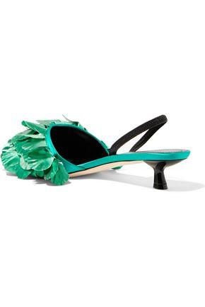 MARCO DE VINCENZO Lamé-appliquéd satin slingback sandals