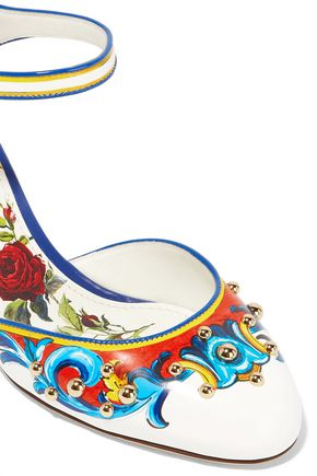 DOLCE & GABBANA Floral-appliquéd printed leather pumps