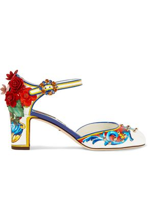 DOLCE & GABBANA Floral-appliquéd printed leather pumps