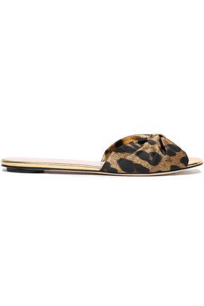 OSCAR DE LA RENTA Leopard-print satin slides