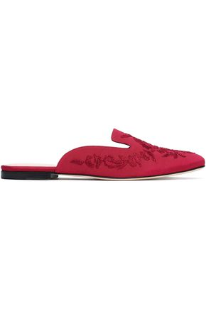 OSCAR DE LA RENTA Embroidered faille slippers