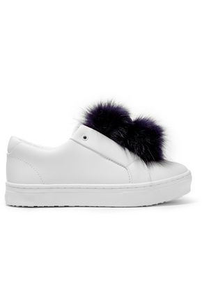 SAM EDELMAN Faux fur-trimmed leather sneakers