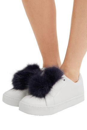 SAM EDELMAN Leya faux fur-trimmed leather slip-on sneakers