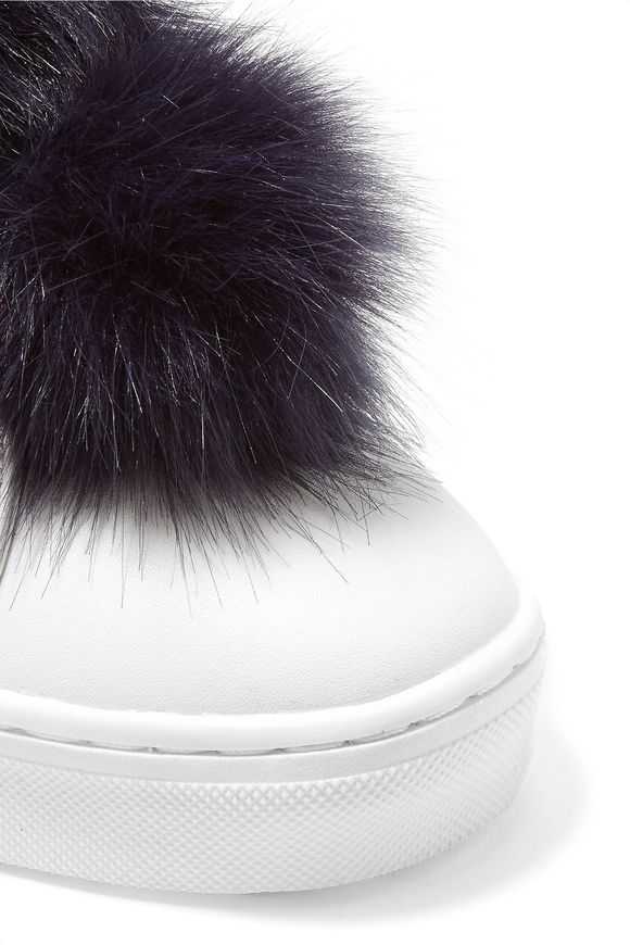 aa4d4cc36eea74 Leya faux fur-trimmed leather slip-on sneakers