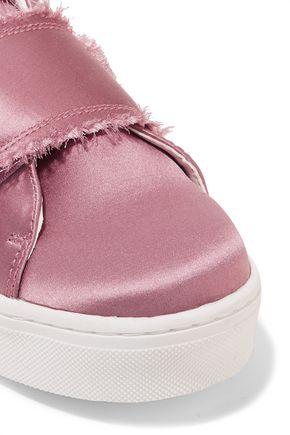 SAM EDELMAN Levine frayed satin slip-on sneakers