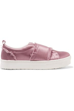 SAM EDELMAN Frayed satin sneakers