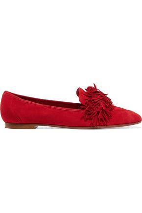 AQUAZZURA Fringe-trimmed suede slippers