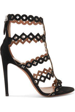 ALAÏA Eyelet-embellished laser-cut suede sandals