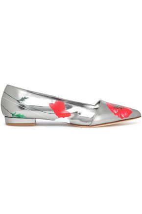 OSCAR DE LA RENTA Floral-print mirrored leather slippers