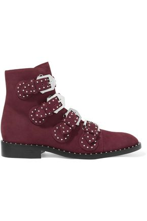 GIVENCHY Buckled studded suede ankle boots