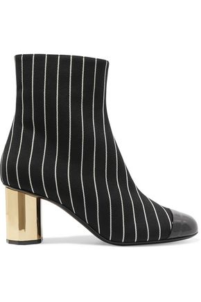 MARCO DE VINCENZO Patent leather-trimmed striped canvas ankle boots