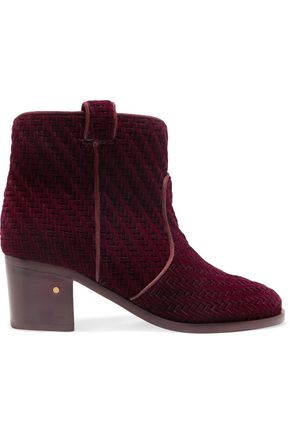 LAURENCE DACADE Woven velvet ankle boots