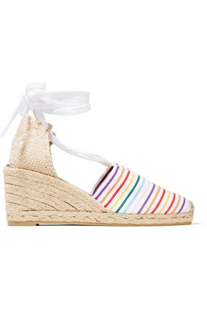 CASTAÑER Lace-up striped canvas wedge espadrilles