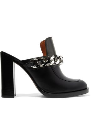 GIVENCHY Chain-embellished leather mules