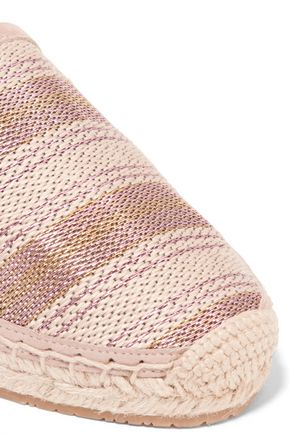 JIMMY CHOO Lace-up striped woven espadrilles