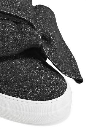 JOSHUA*S Bow-embellished glittered felt slip-on sneakers