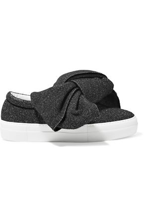 JOSHUA*S Bow-embellished glittered felt slip-on sneakers