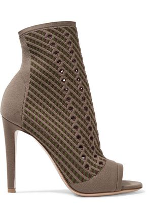 GIANVITO ROSSI Perforated stretch-knit sock boots