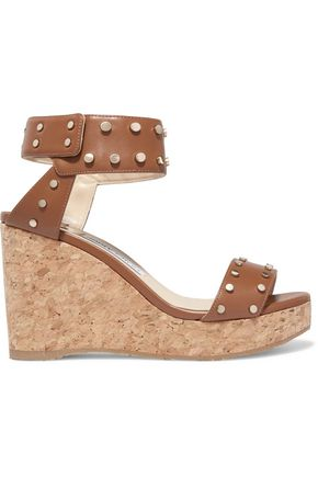 JIMMY CHOO Studded leather platform wedge sandals