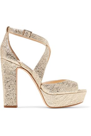 JIMMY CHOO April 120 metallic cracked-leather platform sandals