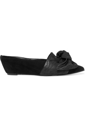 TRADEMARK Bow-embellished suede wedge slippers
