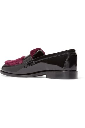 JOSHUA*S Last Dance faux fur-paneled glossed-leather loafers