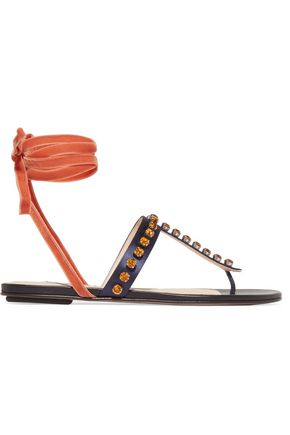 ATTICO Vanessa crystal-embellished velvet and satin sandals