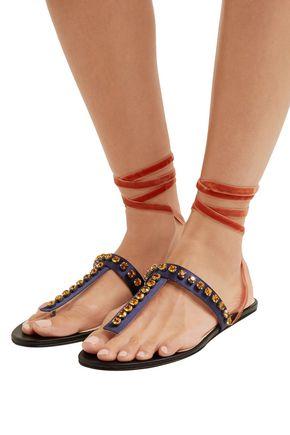 ATTICO Vanessa crystal-embellished velvet and satin sandals