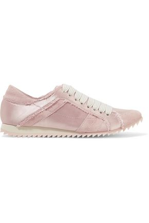 PEDRO GARCÍA Cristina suede-trimmed frayed satin sneakers