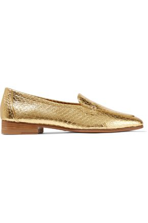 THE ROW Metallic snake-effect leather loafers