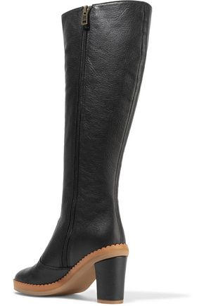 SEE BY CHLOÉ Scalloped textured-leather knee boots