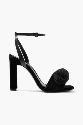 MERCEDES CASTILLO Olenna leather-trimmed appliquéd velvet sandals