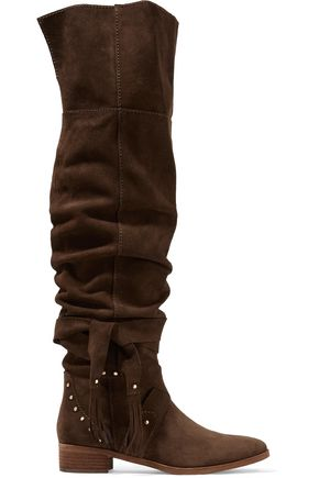 SEE BY CHLOÉ Studded suede over-the-knee boots