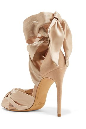 ALEXANDRE BIRMAN Katherine knotted silk-satin and suede sandals