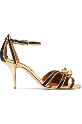 MALONE SOULIERS Eunice metallic leather-trimmed satin sandals
