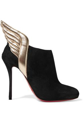 CHRISTIAN LOUBOUTIN Mercura 100 metallic leather-trimmed suede ankle boots