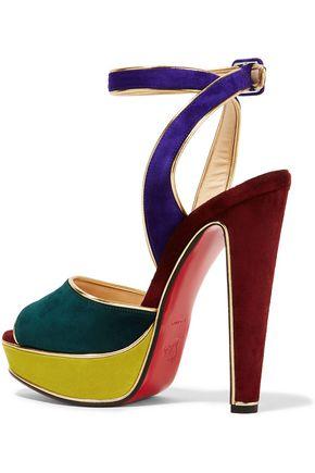 88de5c883ffe ... CHRISTIAN LOUBOUTIN Louloudance 140 color-block suede platform sandals
