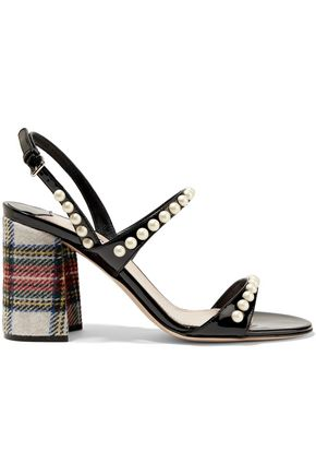MIU MIU Embellished patent-leather and checked tweed sandals