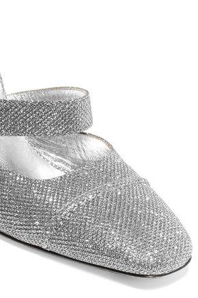 ALEXACHUNG Glittered mesh mules