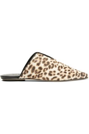 TIBI Cacey leopard-print calf hair slippers
