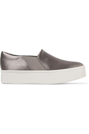 VINCE. Warren satin platform slip-on sneakers