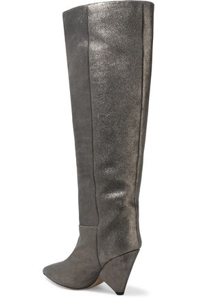 ISABEL MARANT Loyko metallic brushed-leather knee boots