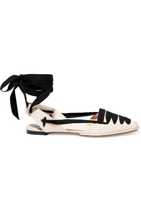 ALTUZARRA Lace-up canvas point-toe flats