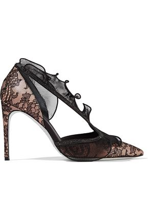 RENE' CAOVILLA Crystal-embellished lace, satin and plissé organza pumps