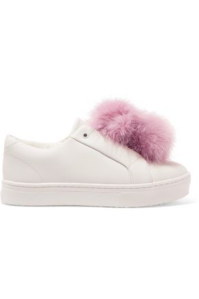 SAM EDELMAN Faux fur-trimmed leather slip-on sneakers