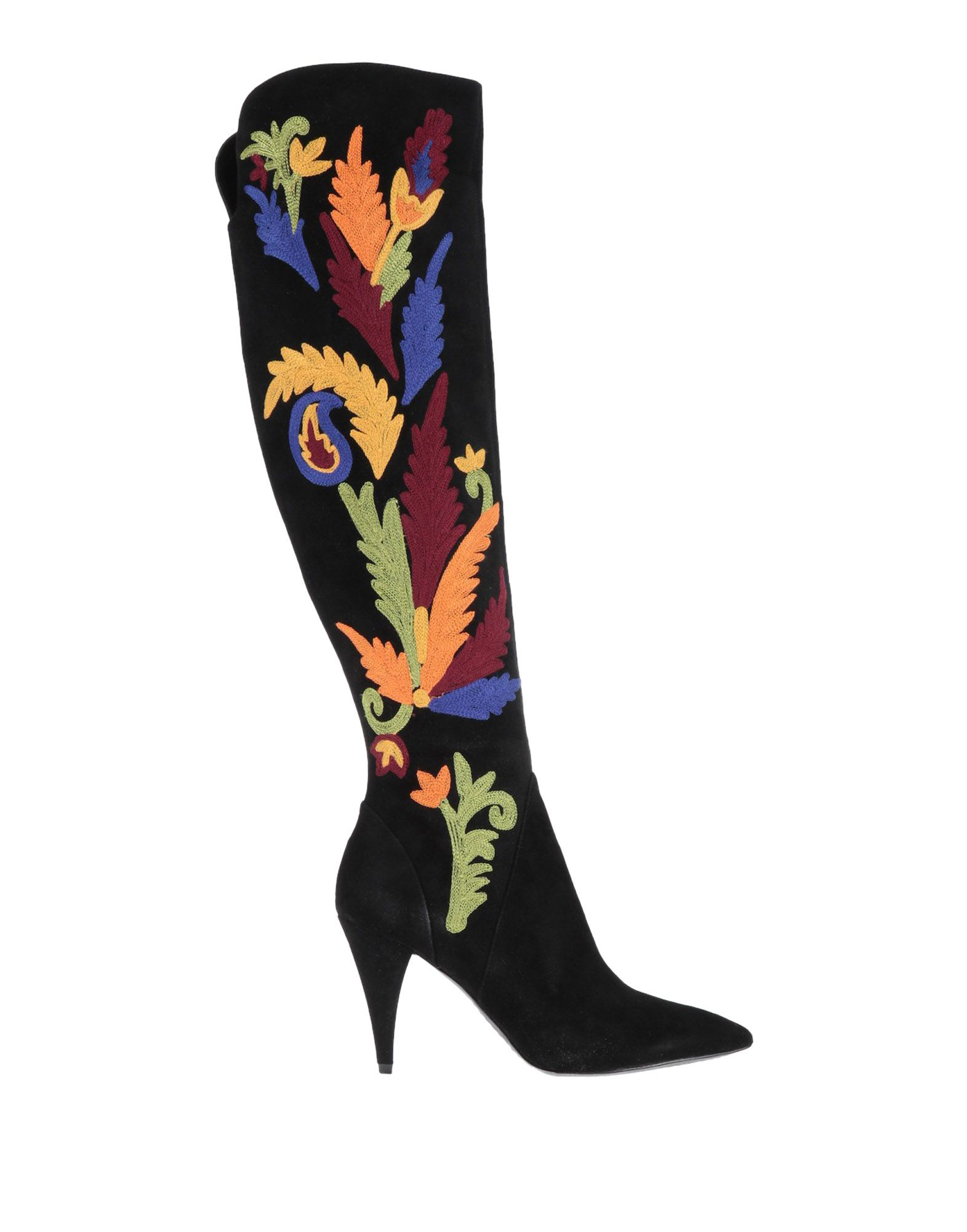 Woman Embroidered Suede Knee Boots Black